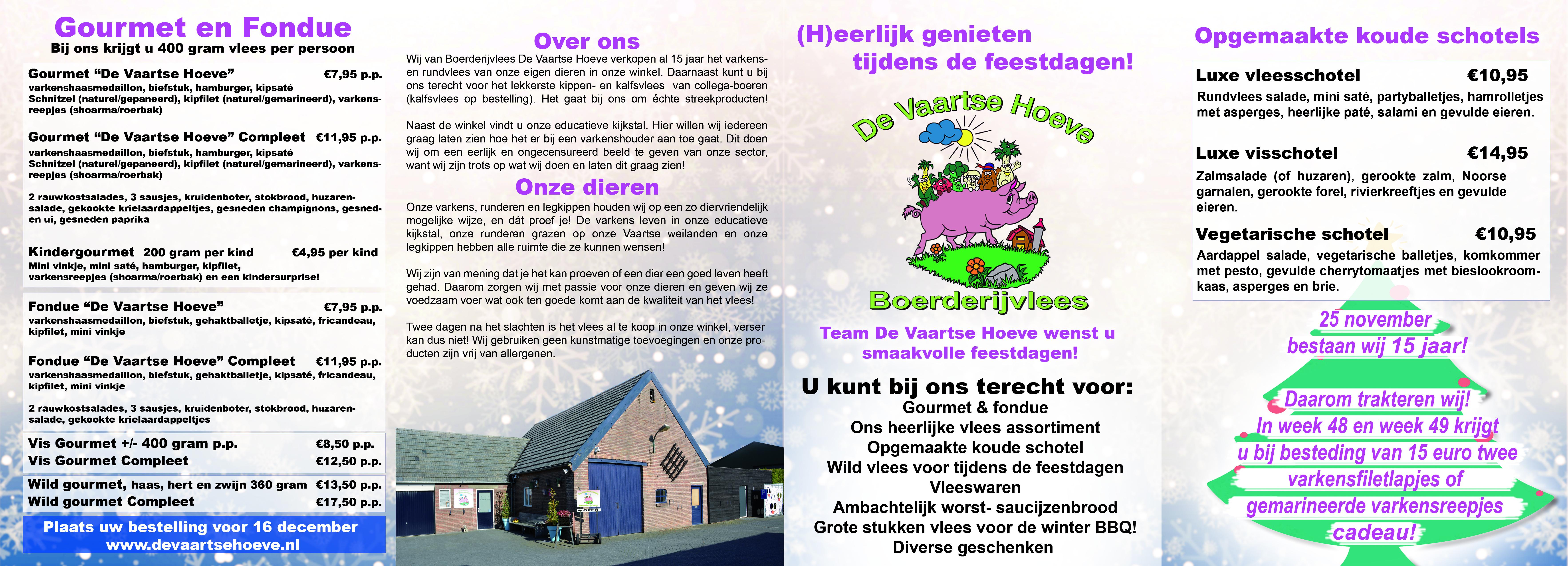 Folder Kerst 2018 De Vaartsehoeve Boerderijvlees